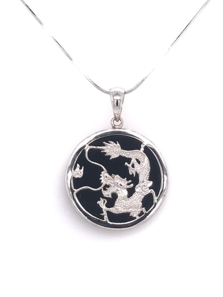 Black & White Onyx Dragon Pendant