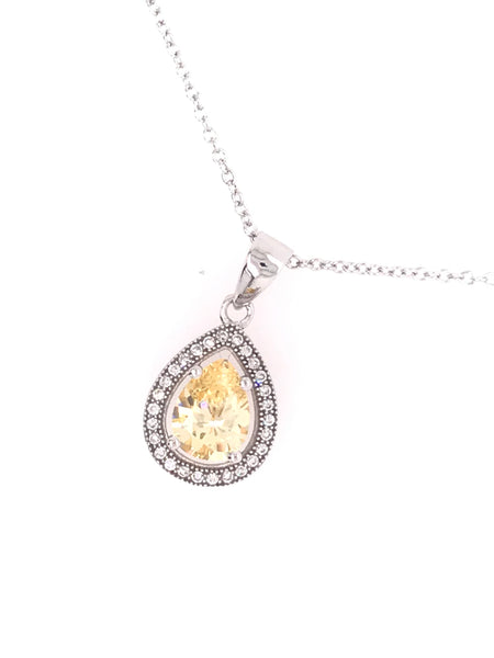 Micro Pave Yellow Tear Drop Set