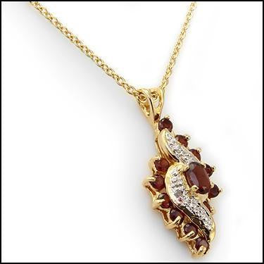 Irresistible 18k Diamonds & 3.0ctw Garnet Pendant