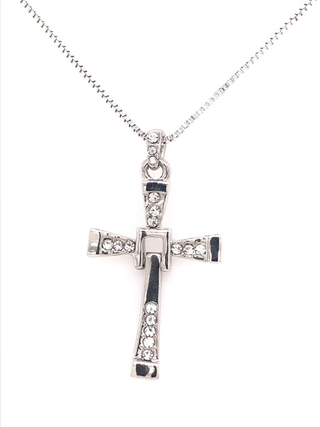 Waving Cross Swarovski Pendant