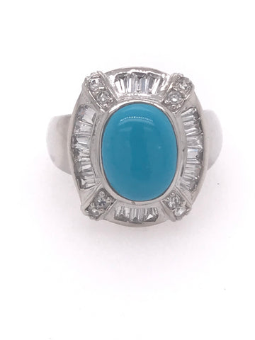 Beautiful Cabochon Synthetic Turquoise Baguette Ring