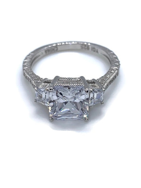 Princess Cut Cubic Zirconia With Sterling Silver