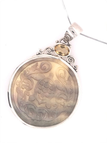 Mother of Pearl Turtle and Citrine Pendant