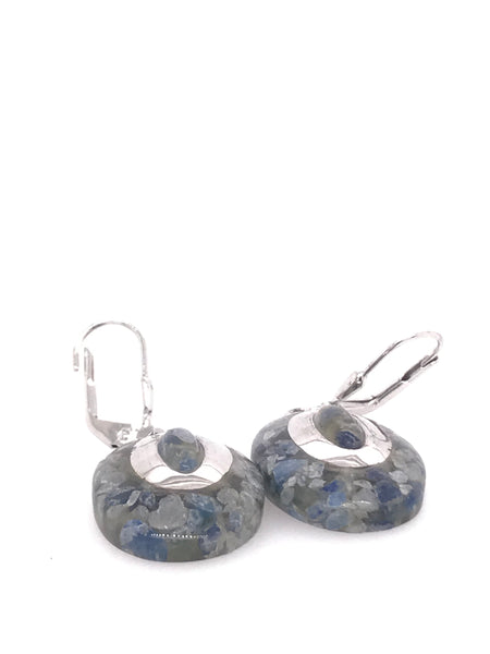Oval Crushed Iolite Earrings