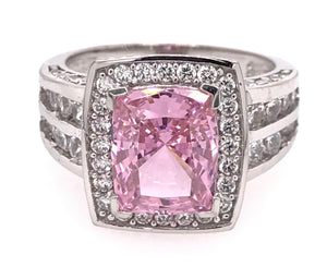 Halo Emerald Cut Pink and White Ring