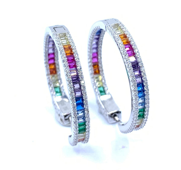 Color The Rainbow Hoop Earrings