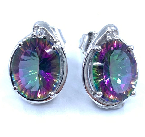 Fascinating 4.6ct Mystic Quartz Earrings