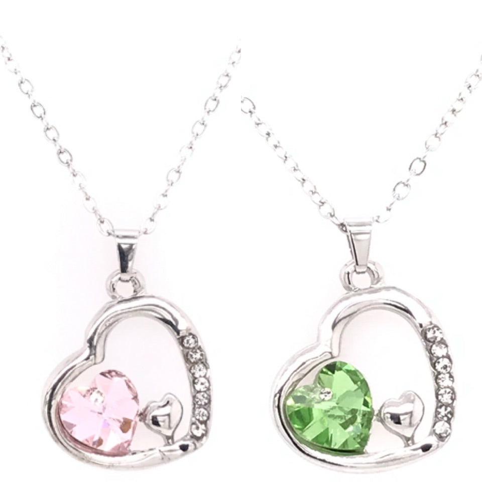 Trio Linked Swarovski Hearts Pendant
