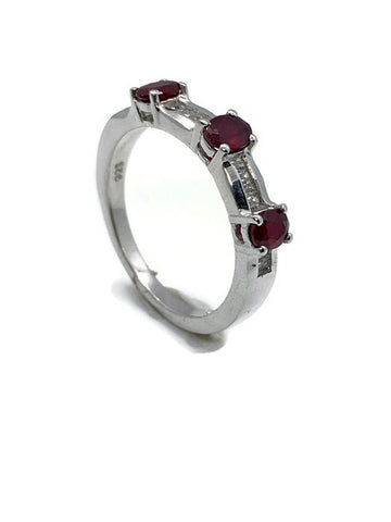 Three-Stone Ruby Ring in Sterling Silver