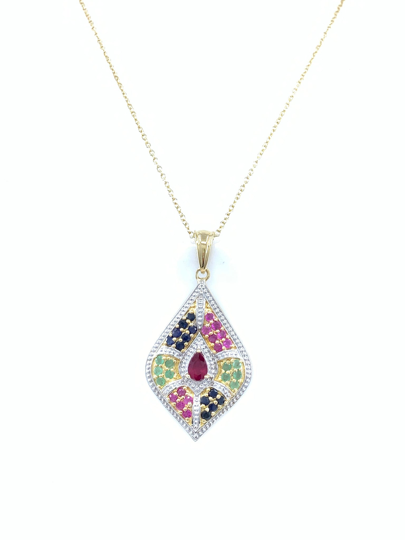Fascinating 14k Gold Emerald Ruby and Sapphire Pendant