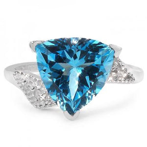 Stunning 14k Diamond & 3.5ct Trillion Cut Swiss Blue Topaz Ring