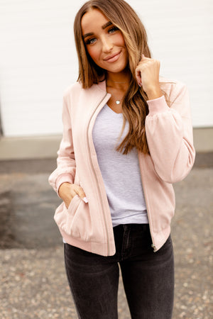 Ampersand Ave Night Out Bomber Jacket - Blush