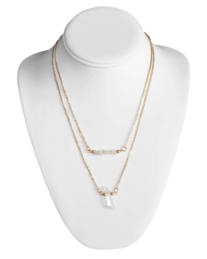 Double Gold Chain Necklace With Crystals