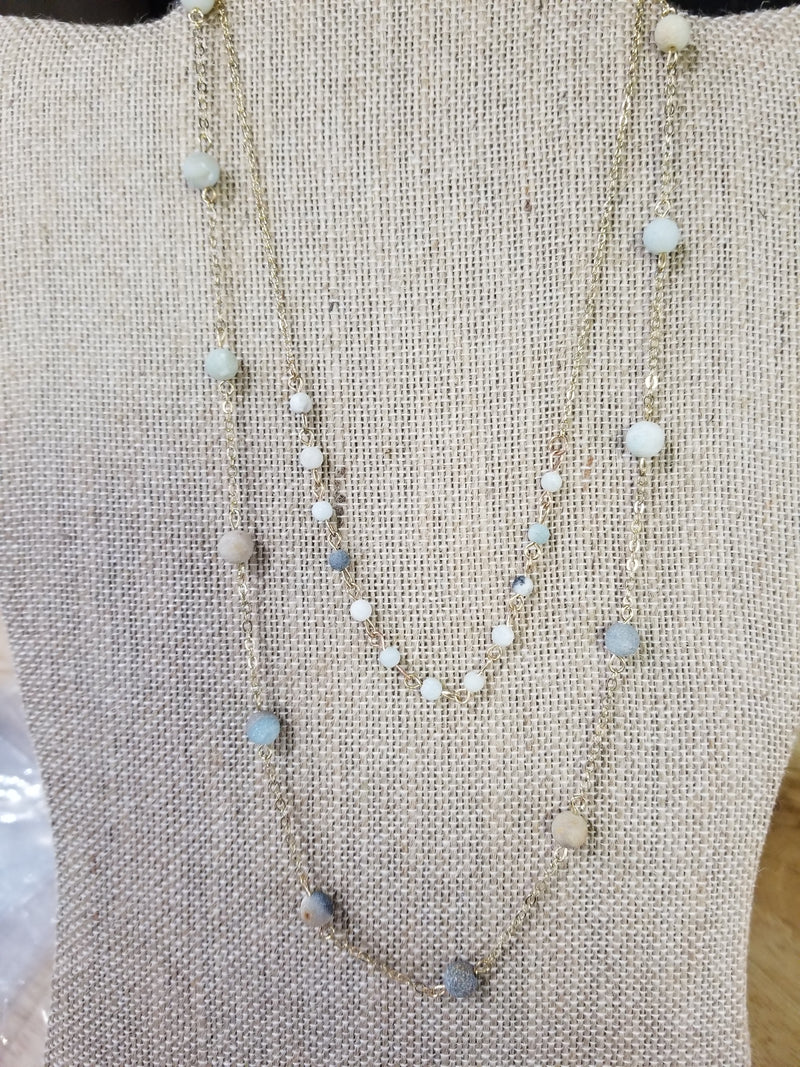 Stone Beads On Gold Chain