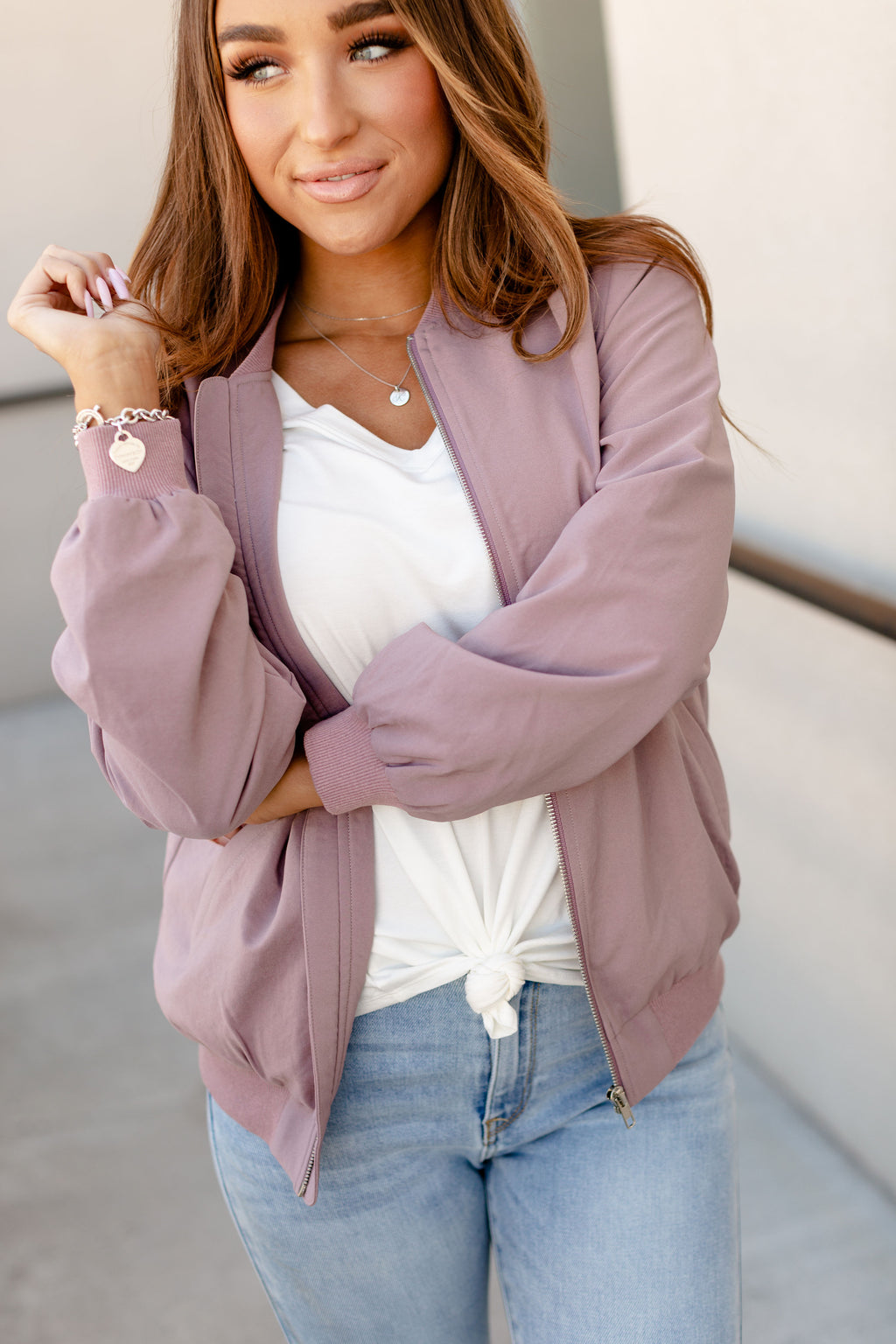 Ampersand Ave Night Out Bomber Jacket - Mauve