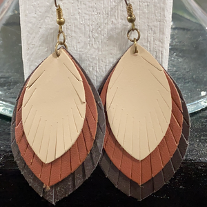 Triple Layered Leather Earrings