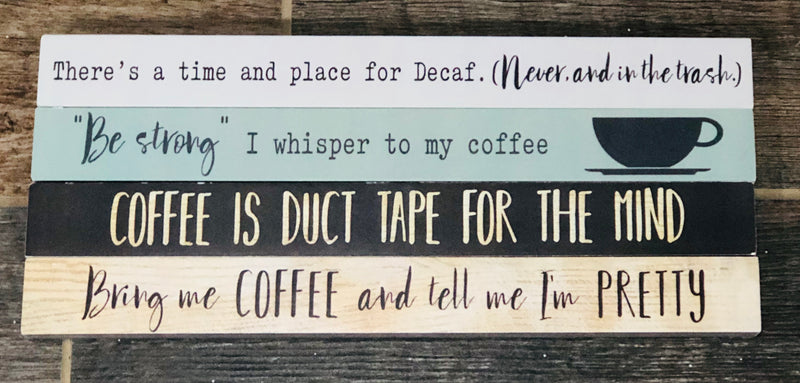 Coffee Long Wood Signs
