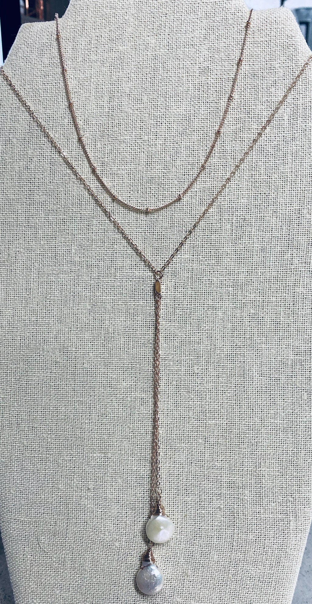 Rose Gold Drop Stone Necklace