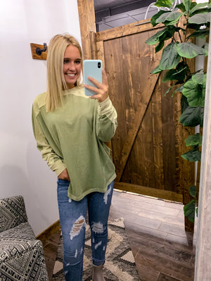 Contrasting Appeal Top - Sage