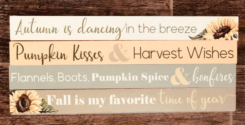 Autumn Tabletop Long Block Signs