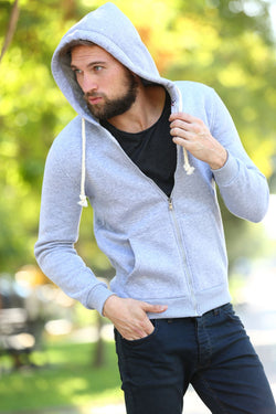 Men's Zipped Front Grey Sweatshirt