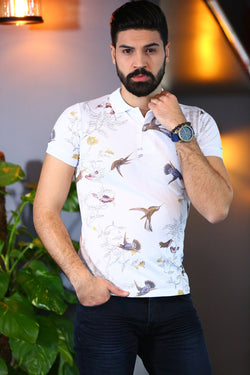 Men's Patterned Polo T-Shirt