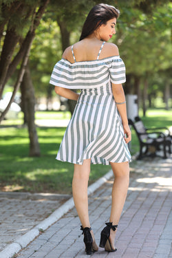 Women's Thin Strappy Striped Dress