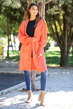 Woollen Orange Cardigan