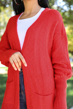 Wooly Red Cardigan