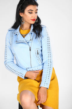 Women's Drop Embroidered Nubuck Blue Jacket