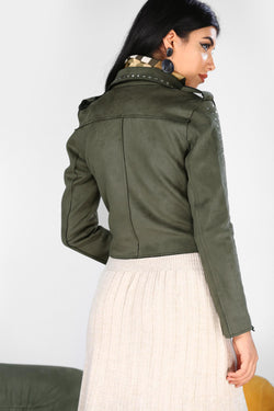 Women's Drop Embroidered Nubuck Khaki Jacket