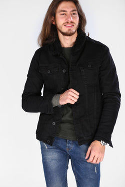 Men's Pocketed Black Coat