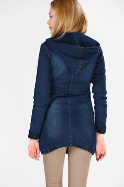 Women's Inner Plush Long Denim Jacket