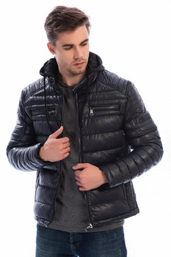 Men's Black Artificial Leather Coat