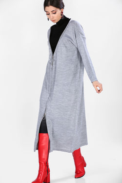 Women's Zipped Grey Cardigan