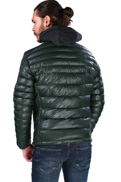 Men's Dark Green Artificial Leather Coat