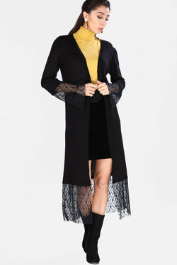 Women's Tulle Detail Long Tricot Cardigan