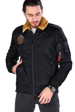 Men's Furry Collar Black Coat