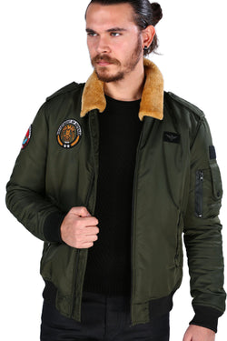 Men's Furry Collar Khaki Blown Coat