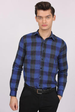 Men's Layered Sleeves Plaid Saxe Shirt