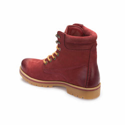 Men's Claret Red Leather City Boots