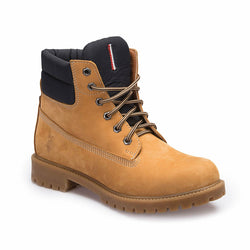 Yellow Men's Leather Worker Boots