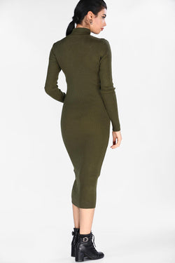 Women's Turtleneck Khaki Tricot Dress