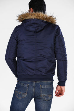 Men's Hooded Navy Blue Coat