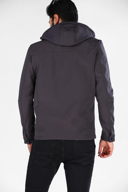 Men's Oversize Hooded Anthracite Coat