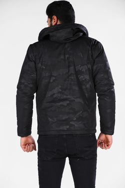 Men's Hooded Camouflage Patterned Black Coat