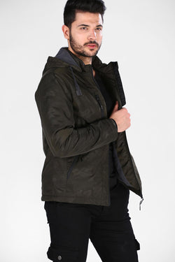 Men's Hooded Camouflage Khaki Coat