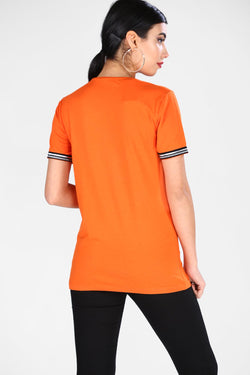 Women's Stripe Detail Orange T-shirt