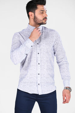 Men's Patterned Ecru Shirt