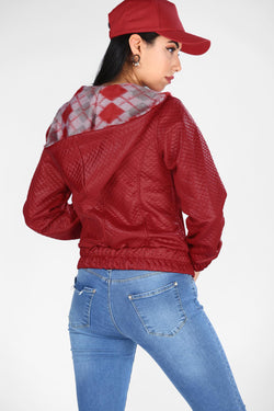 Women's Hooded Zipped Red Jacket